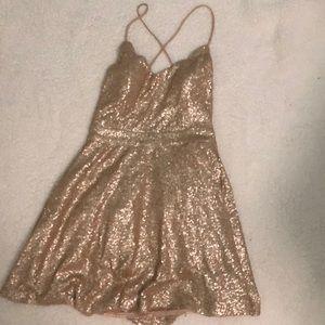 Tobi Gold Sequin Skater Dress
